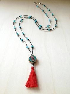 Tassel necklace Long necklace Nephrite beads necklace Jade