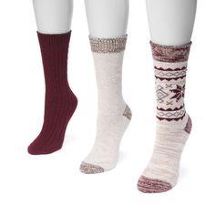 MUK Luks® Women's 3 Pair Pack Boot Socks