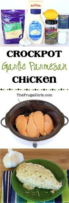 Crock Pot Garlic Parmesan Chicken Recipe from make dinner the highlight of your week with this ridiculously delicious Crockpot meal Perfect for nights when company is coming over too slowcooker recipes thefrugalgirls Slow Cooker Huhn, Crock Pot Slow Cooker, Slow Cooker Recipes, Cooking Recipes, Keto Crockpot Recipes, Garlic Recipes, Low Calorie Crock Pot Recipe, Easy Cooking, Best Crockpot Meals