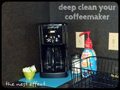 Clean Your Coffeemaker. Fill your coffeepot with 1 part white vinegar, 2 parts water and pour it into the coffeemaker. Put a new paper filter into the filter basket to catch all of the loosened junk. Diy Home Cleaning, Deep Cleaning, Spring Cleaning, Diy Cleaning Products, Cleaning Hacks, Cleaning Supplies, Diy Cleaners, Cleaners Homemade, Helping Cleaning