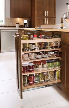 too hard to find things that small and that low Small Kitchen Storage, Kitchen Redo, Kitchen Hacks, Kitchen Organization, Kitchen Cabinets, Kitchen Ideas, Organized Kitchen, Kitchen Designs, Organizing