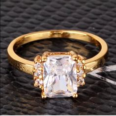 White Sapphire Gold Plated Cubic Zirconia Ring