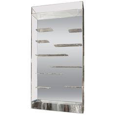 Midcentury Les Prismatiques Free Floating Lucite Shelves And Mirror Wall Vitrine