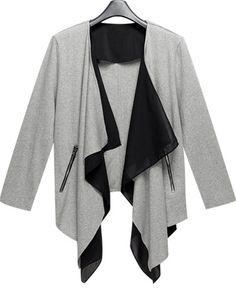 64e916e8297b Shop Grey Long Sleeve Asymmetrical Knit Cardigan online. Sheinside offers  Grey Long Sleeve Asymmetrical Knit