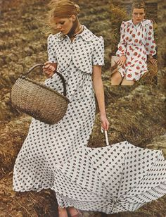 January 1973. 'Now's the time to get sewing for spring, to stitch up dresses in just about the prettiest, girl-test prints ever.'