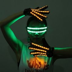 Gant de Doigt Entier Bande Lumineuse LED Rechargeable