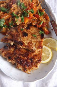 Skillet Pork Chops Brined in Milk  | The brining makes the pork chops wonderfully tender and aromatic due to that garlic and the little flour you sprinkle on the meat before you actually fry it makes the pieces of meat a bit crispy on the outside. @adinabeck