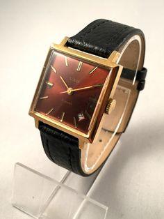 """ceas pentru bărbați Vintage numit """"GLORIE"""" ( """"Slava"""") 21j.  cadran roșu ceas sovietic minunat.  Vine cu curea de piele Nou!"""