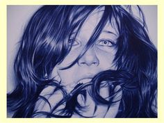 morena con el pelo revolicao Hyperrealism, Ballpoint Pen, Female, Amazing, Illustrations, Photos, Art, Brunettes, Hair