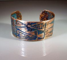 """READY to SHIP Handmade Etched Copper Cuff Bracelet """"Tribal Which Way"""" Size Medium / Large"""