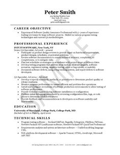quality assurance resume example - Sample Resume For Entry Level