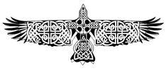 Black Celtic Flying Eagle Tattoo Stencil By Katarzyna Matusik