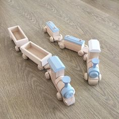 These are the two types of super cute wooden trains you can find in our shop - each train comes with custom colour choice #bestseller