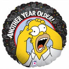 """Party Supplies   Balloons   Simpsons Theme   Over the Hill...Oh no, another year older! Throw the perfect party for your aging friend by decorating with this 18"""" Over the Hill Simpsons Foil/Mylar Balloon!"""