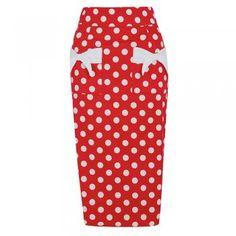 Elvgren Red Polka Dot Wiggle Skirt | Vintage Style Skirt - Lindy Bop