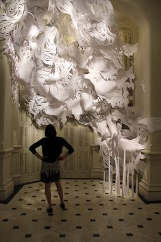"Mia Pearlman's installation, ""ONE""  at the Smithsonian American Art Museum.  ""ONE"" is constructed entirely out of paper"