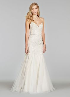 Ivory Tulle over Taupe Fit and Flare bridal gown, sequin embroidered bodice, gored skirt, chapel train