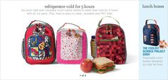 Luggage Lunch Boxes & Food Containers-- fridge cold for 5 hrs.  Easy to clean, reusable and PVC free.