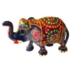 ELEPHANT ALUMINUM METAL WITH ENAMEL WORK INDIAN MINAKARI WORK 9x15 CMS