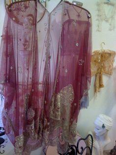 Black cherry silk and beaded Kimono by hulagypsyvintage on Etsy