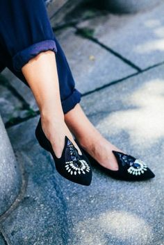 Embroidered #flats #black