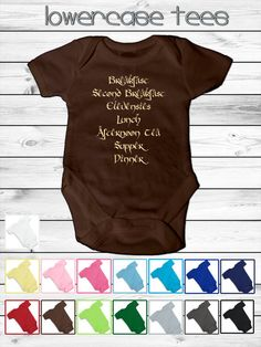Baby Lord Of The Rings Inspired Infant Onesie - 5 sizes - 15 colors - Hobbit Meal Times Design - bodysuit shower gift custom