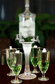 Compare various absinthe fountain styles. Metal vs Glass fountains - Which is best? Where can I find a quality absinthe fountain set Vodka, Whisky, Art Nouveau, Alcoholic Drinks, Cocktails, Beverages, Green Fairy, Mixed Drinks, Barware