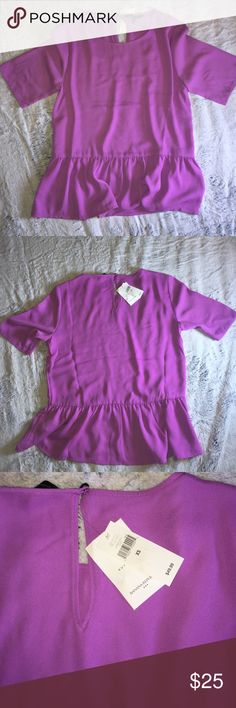 Banana Republic blouse in XS Gorgeous purple Banana Republic blouse in XS. Ruffle bottom and keyhole button hole at back. Banana Republic Tops Blouses