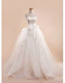 Luxurious crystals swarovski beaded accent two pieces detachable sweeping train prom wedding dress 5W-052