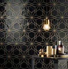 Diamond Trendy Bathroom, Commercial Tile, Art Deco Bathroom, Black And Gold Bathroom, Art Deco Tiles, Gold Tile, Black Mosaic Tile, Black Bathroom, Geometric Tiles