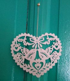 White heart shaped paper cut out ornament, $6.50