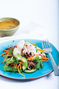 Grilled Chili Squid Salad with Passion Fruit Dressing, alive.com