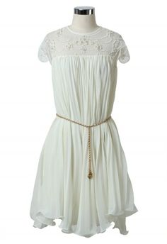 Beads Pleated Fluted Hemline White Dress - Floral - Dress - Retro, Indie and Unique Fashion. Oh the chic.