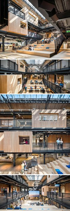 30 pictures of airbnb's spacious dublin headquarters factory architecture, stairs architecture, library architecture, Corporate Office Design, Office Interior Design, Office Interiors, Corporate Interiors, Office Designs, Modern Interior, Atrium Design, Lobby Design, Design Hotel