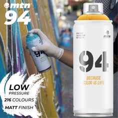 MTN 94 Low Pressure 216 Colours Matt Finish Fast Drying One of our most popular cans. Extremely versatile tool for both interior and exterior applications.