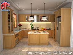 Tủ bếp gỗ sồi tự nhiên 2