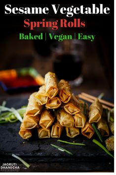 ideas spring brunch recipes appetizers for 2019 Baked Spring Rolls, Vegan Spring Rolls, Chicken Spring Rolls, Vegetarian Spring Rolls, Brunch Recipes, Appetizer Recipes, Snack Recipes, Healthy Appetizers, Recipes Dinner