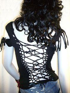 Shredded / Slashed / Knotted Upcycyled / Graphic Black TShirt