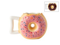 """Ceramic Donut Mug - Delicious Pink Glaze Doughnut with Sprinkles - Funny """"MMM... Donuts!"""" Quote - Best Cup For Coffee, Tea, Hot Chocolate and More - Large 14 oz Size - By Comfify"""