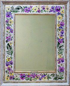"Купить Зеркало ""Анютки и ландыши"" - фуксия, зеркало, зеркало настенное, зеркало ручной работы Fireplace Mirror, Mirror Mosaic, Frame Clipart, China Painting, Ceramic Clay, Diy Frame, Tile Art, Islamic Art, Pansies"