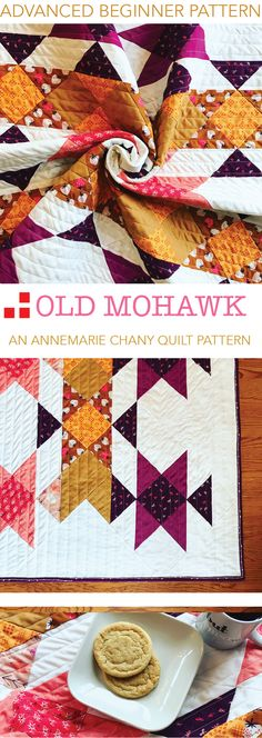 Old Mohawk Quilt Pattern by AnneMarie Chany. Advanced Beginner Pattern - Make 8 Half Square Triangles at a Time (with Video Tutorial). Includes Special Fabric Organization Chart helps you choose colors and light/med/dark shades. Great pattern for mixing fabrics from your stash!