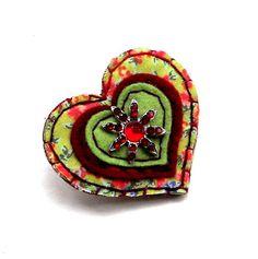 Brooch jewelry jewellery heart shaped felt by mollymoodesign, £12.00
