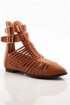 Pointed Conversation Pointed Toe Flat Gladiator Sandals - Tan from Natures Breeze at Lucky 21