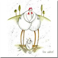 Shop funny Chicken Cards at Sarah Boddy. Chicken Humor, Chicken Art, Funny Chicken, Doodle Doo, Chickens And Roosters, Funny Birds, Animal Sketches, China Painting, Diy Arts And Crafts
