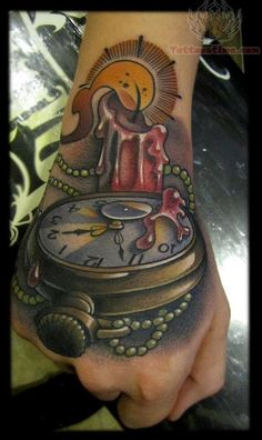 Excellent shading - stop watch candle tattoo