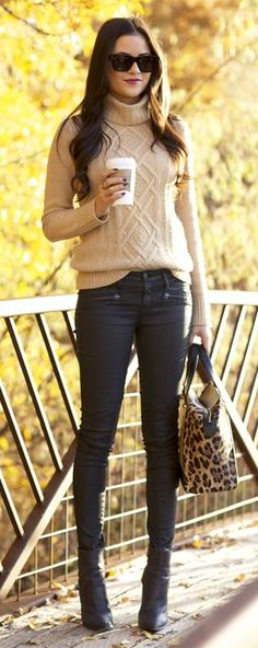 Perfect! Long casual hair, understated *warm* sweater, (cuz SOME people actually live where it gets cold in the fall) neutral skinny jeans, boots, and a pop of leopard.