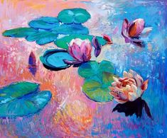 Original Oil Lilies 3, 20x24 in, Landscape Painting Original Art Impressionistic OIl on Canvas by Ivailo Nikolov  (available)