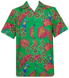 Hawaiian Shirt 36 Mens Toucan Print Beach Aloha Party Green XL, Men's