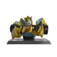 Transformers x Quiccs Bumblebee 6-inch vinyl statue by Mighty Jaxx Vinyl Toys, Vinyl Art, Designer Toys, Sound Waves, All About Eyes, 6 Inches, Transformers, Bowser, Bookends
