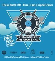 TURNTABLES ON TOWN LAKE - 1 YR ANNIVERSARY | DJ music, specialty cocktails, great food, giveaways | Capital Cruises MV Pride & Joy II | Boarding behind Hyatt Hotel, 208 Barton Springs Rd., Austin, TX 78704 | March 14, 2014 | 12-3pm (board at 11:45am) | https://www.eventbrite.com/e/turntables-on-town-lake-1-yr-anniversary-tickets-10208342427